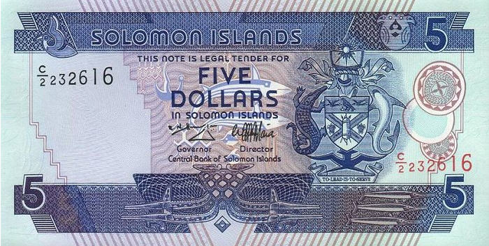 P19 Solomon Islands 5 Dollars Year N.D.